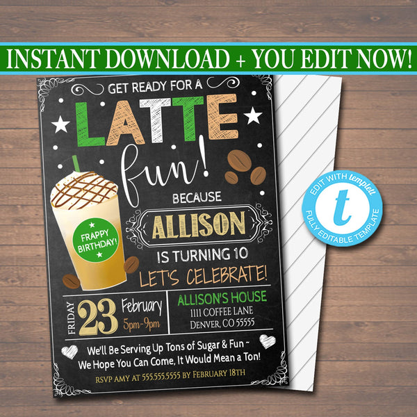 EDITABLE Kids Coffee Shop Themed Party Birthday Invitation, Girls Frappachino Party Digital Invite, Latte Fun Birthday, INSTANT DOWNLOAD