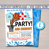 EDITABLE Summer Pool Basketball Party Invitation, Printable Digital Invite Back to School, Team BBQ Party, End of School, Boys Pool Birthday