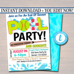 EDITABLE Summer Pool Softball Party Invitation, Printable Digital Invite Back to School, Team BBQ Party, End of School, Girls Pool Birthday