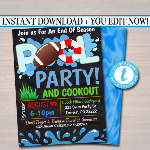 EDITABLE Summer Pool Football Party Invitation Printable Digital Invite Back to School, Football Team BBQ End of School, Boys Pool Birthday