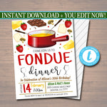 EDITABLE Fondue Dinner Party Invitation, Party Invite, Fondue Restaurant Printable, Birthday Template, Valentines Day Party INSTANT DOWNLOAD