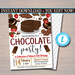 EDITABLE Chocolate Party Invitation, Party Invite, Dessert Restaurant Printable, Birthday Template, Valentines Day Party, INSTANT DOWNLOAD