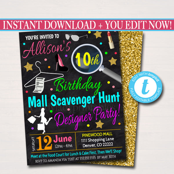 EDITABLE Mall Scavenger Hunt Party, Tween Teen Birthday Party Invitation, Birthday Girl Fashion Invite, Sleepover Invite, INSTANT DOWNLOAD