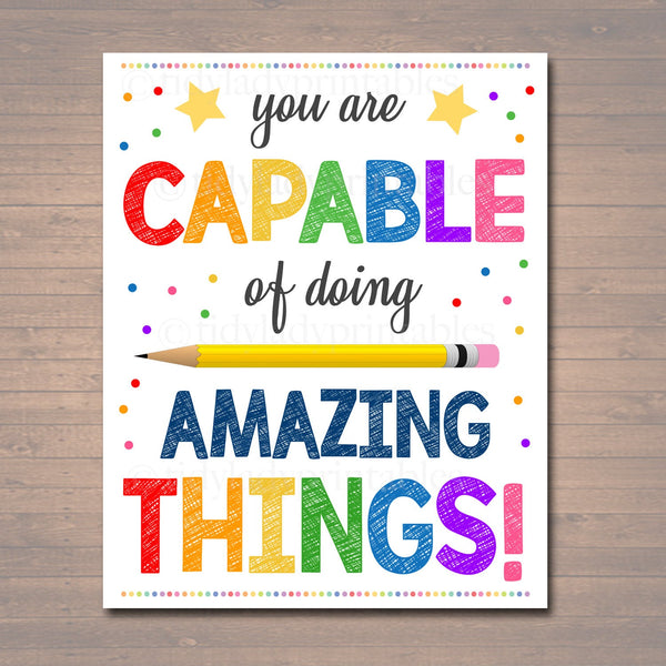 Counseling Office Poster, Teacher Printables, Therapist Office Art, Social Worker Sign, Classroom Poster, You Are Capable of Amazing Things!