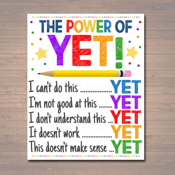 The Power of Yet Printable Poster, Growth Mindset, INSTANT DOWNLOAD, Motivational Wall Art, School Office Classroom Teacher Decoration Art