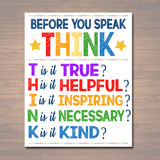 PRINTABLE Think Before You Speak Sign, Printable Classroom Decor, Motivational Poster, Counselor Art, Teacher Printables