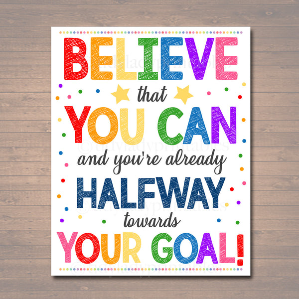Classroom Decor School Classroom Poster, Believe That You Can, Confidence Goals Motivation Printable Art, School Counselor Office Decoration