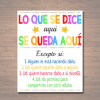 Spanish Counseling Office Confidentiality Poster, Counselor Office Decor, Therapist Office, Social Worker Sign, What You Say in Here Stays