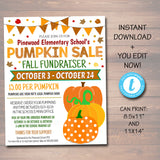 EDITABLE Fall Pumpkin Sale Fundraiser Flyer/Poster Printable Invitation, Community Halloween Event, Church School Pto Pta Fall Harvest Party