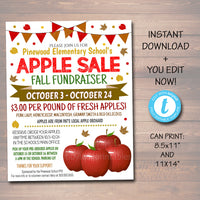 EDITABLE Apple Sale Fundraiser Flyer/Poster Printable Invitation, Community Halloween Event, Church School Pto Pta, Fall Harvest Festival