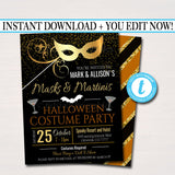 EDITABLE Halloween Masquerade Costume Party Invitation, Printable Adult Cocktail Halloween Party Invite, Masks & Martinis, INSTANT DOWNLOAD