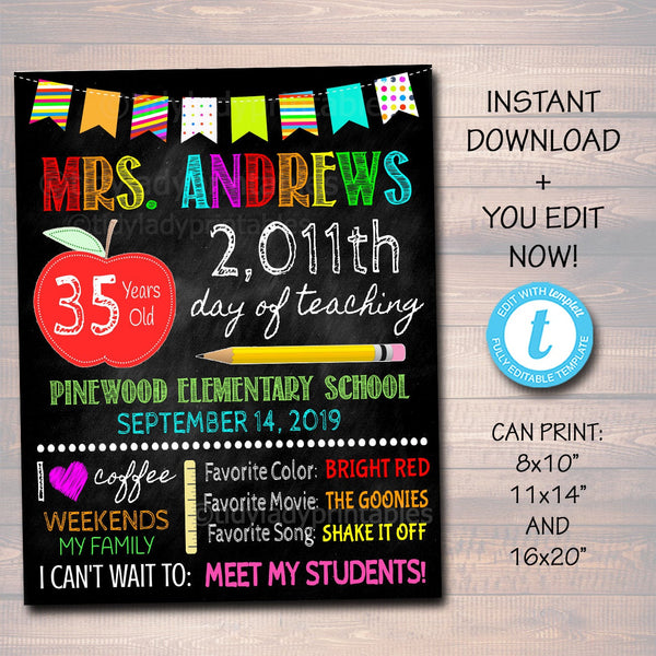 EDITABLE First Day Teacher Stats Chalkboard Sign, Back to School Photo Prop Poster, Editable School Sign, Days Years Teaching 1st Day School