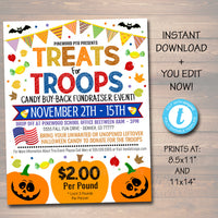 EDITABLE Treats For Troops Candy Drive Buy Back Military Fundraiser Flyer/Poster Printable, Community Halloween Event Church School Pto Pta
