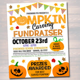 EDITABLE Pumpkin Carving Party Fundraiser Flyer/Poster Printable, Community Halloween Event Church School Pto Pta, Fall Harvest Festival