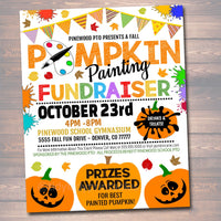 EDITABLE Pumpkin Painting Party Fundraiser Flyer/Poster Printable, Community Halloween Event Church School Pto Pta, Fall Harvest Festival