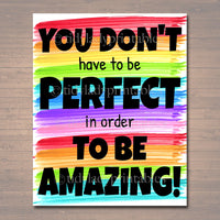 Classroom Printable Poster, Counselor Office Decor, Social Worker, High School Classroom Poster, Don't Have to be Perfect, Self Esteem Art