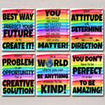 SET OF 6 Rainbow Watercolor Printable Posters, School Counselor Social Worker Classroom Office Decor, Kindness You Matter Teacher Printables