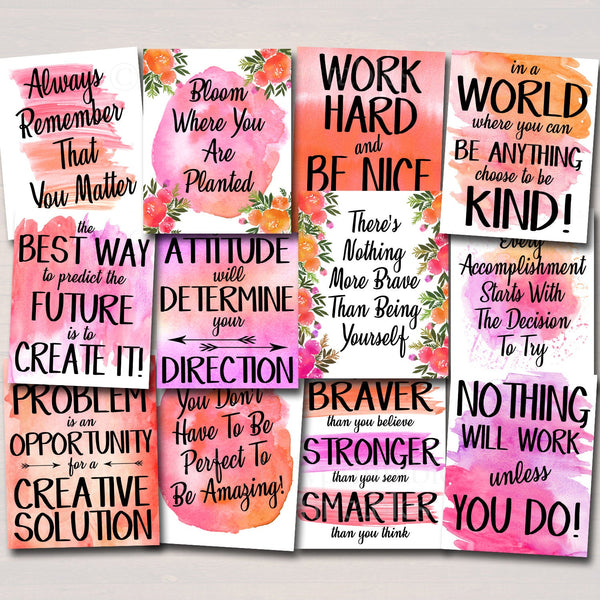 SET OF 12 Inspirational Watercolor Printable Posters, School Counselor Teacher Social Worker Classroom Pink Office Decor Kindness You Matter