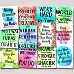 SET OF 12 Inspirational Watercolor Printable Posters, School Counselor Teacher Social Worker Classroom, Office Decor Kindness You Matter Art