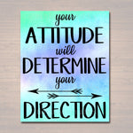 Inspirational Watercolor Printable Poster, School Counselor Teacher Social Worker Classroom Blue Office Decor, Attitude Determines Direction