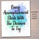 Inspirational Watercolor Printable Poster School Counselor Teacher Social Worker Classroom Blue Office Decor Accomplishment Starts By Trying