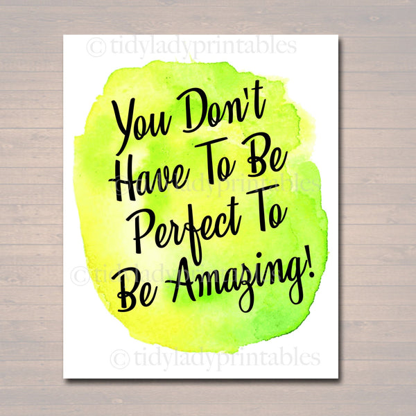Inspirational Watercolor Printable Poster, School Counselor Teacher Social Worker Classroom Green Office Decor, Don't Have to Be Perfect Art