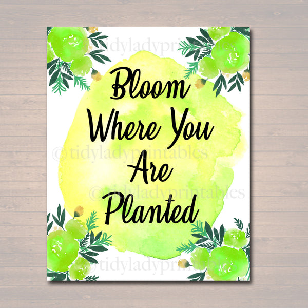Inspirational Watercolor Printable Poster, School Counselor Teacher Social Worker Classroom Green Office Decor, Bloom Where You Are Planted