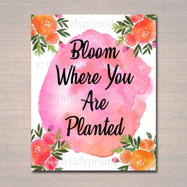 Inspirational Watercolor Printable Poster, School Counselor Teacher Social Worker Classroom Pink Office Decor, Bloom Where You Are Planted