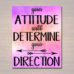 Inspirational Watercolor Printable Poster School Counselor Teacher Social Worker Classroom Pink Office Decor, Attitude Determines Direction