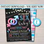 EDITABLE Gender Reveal Party Invitation, Baby Sprinkle, Coed Couples Baby Shower Let's Talk About Sex Baby Funny Invite, Team Pink Team Blue