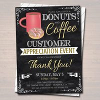 Editable Coffee Donuts Appreciation Invitation, Grateful For You Teacher Staff Invitation, Customer, Boss Client Thank You, INSTANT DOWNLOAD