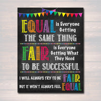 Fair Vs. Equal Classroom Printable Poster, School Counselor Office, Growth Mindset Classroom Poster, School Decor Teacher Principal Wall Art