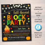 EDITABLE Fall Block Party Festival Harvest Invite Flyer, Printable Halloween Invitation Neighborhood Halloween Party, Church School Festival