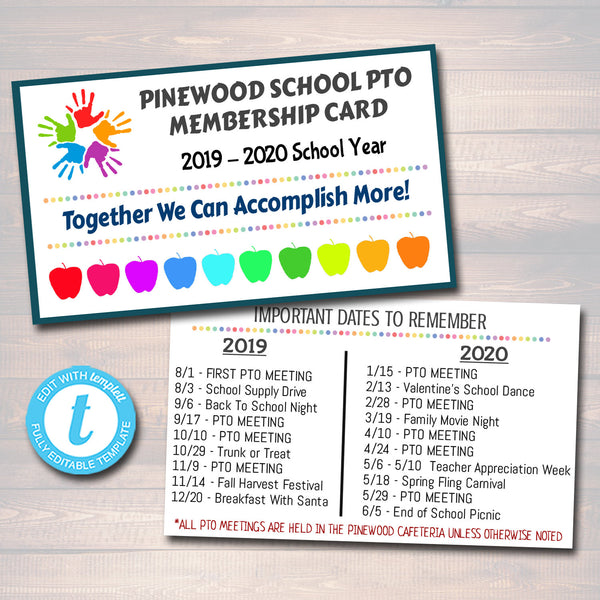 EDITABLE Membership Cards Template, Volunteer, PTO PTA Form Printable Handout, School Yearly Fundraiser Event, Instant Download Template
