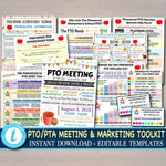 SAVE 40% Editable PTO PTA Forms, Meeting Flyer, Volunteer Membership Signup, Marketing School Fundraiser Event, Sponsorship School Calendar
