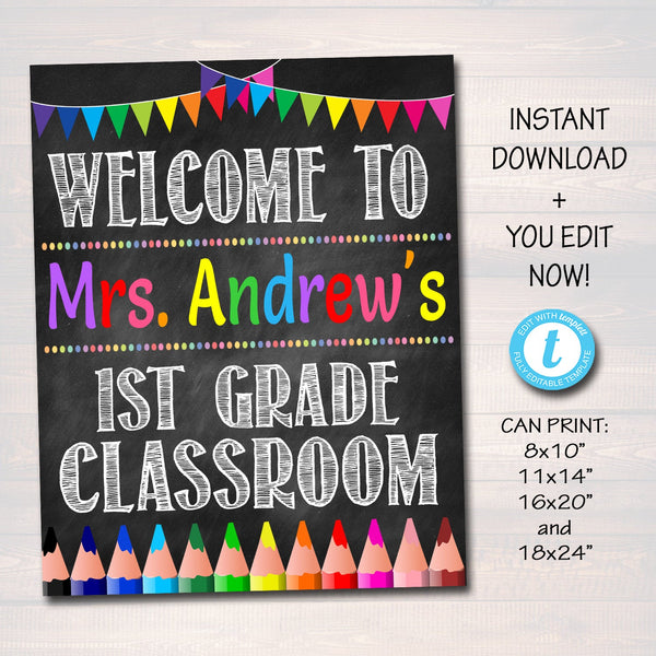 EDITABLE Teacher Classroom Door Sign, Classroom Decor, Teacher Printable, Classroom Printable, Custom Teacher Sign, Back to School Supplies
