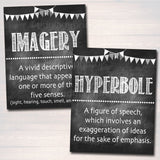 Literary Terms English Grammar Punctuation Posters - English Classroom Decor - Set of 12