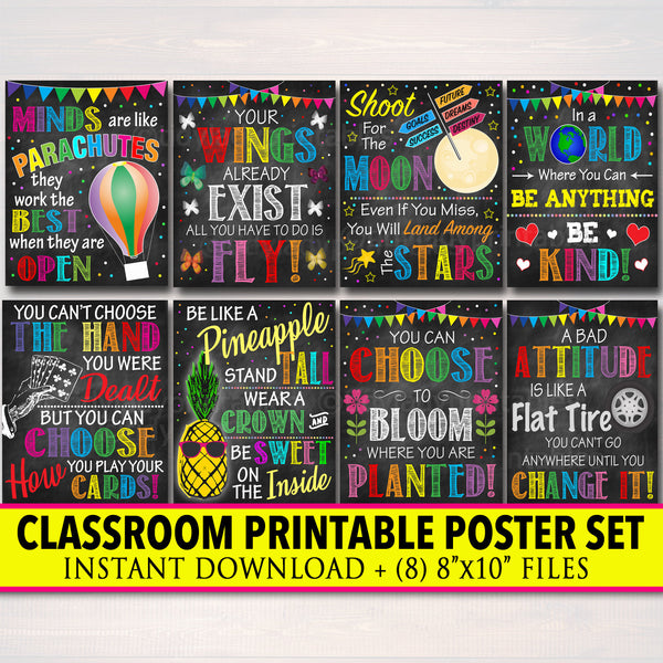 25% OFF Set of 8 Classroom Printable Posters, Inspirational Chalkboard Art, Kindness Motivational School Office Decor, Teacher, Counselors