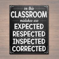 Classroom Decor, Mistakes Are Proof You're Trying Poster, Classroom Poster, Educational Motivational Poster, Mistakes Expected, Respected