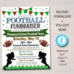 EDITABLE Football Fundraiser Flyer, Printable PTA PTO Flyer, School Benefit Fundraiser Event Poster Digital Party, Football Party Invitation