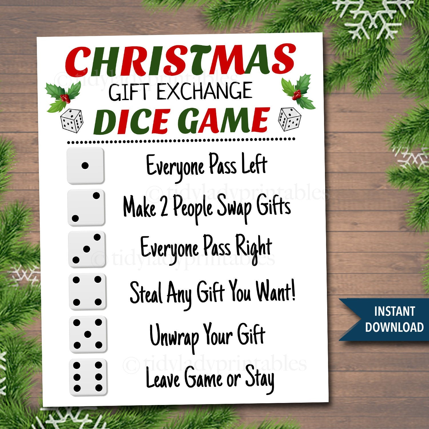 Christmas Gift Exchange Dice Game Rules Tidylady Printables
