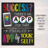 Success There's An App For That School Poster, Classroom Decor, Classroom Management INSTANT DOWNLOAD Technology High School Phone Printable