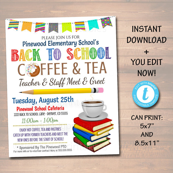 EDITABLE Teacher Staff Meet and Greet Breakfast Social, Printable PTA PTO Flyer Invite, Back To School Coffee and Tea Printable Invitation
