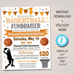 EDITABLE Basketball Fundraiser Flyer, Printable PTA PTO Flyer, School Benefit Fundraiser Event, Poster Digital, Basketball Party Invitation