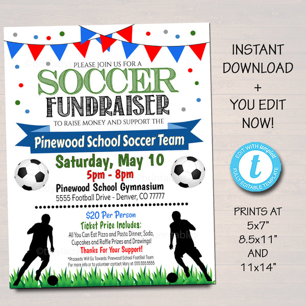 EDITABLE Soccer Fundraiser Flyer, Printable PTA PTO Flyer, School Benefit Fundraiser Event, Poster Digital, Soccer Banquet Party Invitation