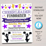 EDITABLE Cheerleader Fundraiser Flyer, Printable PTA PTO Flyer, School Benefit Fundraiser Event Poster Digital, Cheer Team Party Invitation