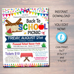 EDITABLE School Picnic Party Invite, Teacher Appreciation Week Printable, Pta Pto Fundraiser, Back to School, End of School INSTANT DOWNLOAD