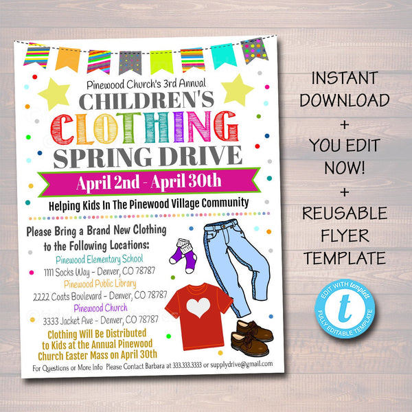 EDITABLE Clothing Drive Flyer, Printable PTA PTO Flyer, School Church Fundraiser, Clothing Swap Rummage Sale Event Poster, Digital Printable