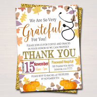 Fall Appreciation Invitation, Grateful For You Nurse Hospital Staff Invitation, Autumn Printable Medical Thank You INSTANT DOWNLOAD Editable