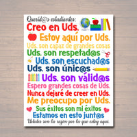Spanish Dear Students Classroom Teacher Poster Sign, School Counselor Art, School Social Worker, Principal Office Decor, INSTANT DOWNLOAD